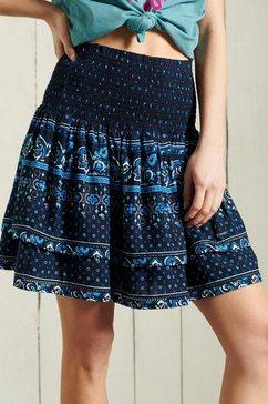 superdry minirok ameera mini smocked skirt in boho-stijl blauw