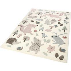 sigikid vloerkleed voor de kinderkamer forest bosdierendesign, korte pool beige