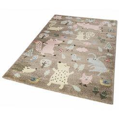 sigikid vloerkleed voor de kinderkamer forest bosdierendesign, korte pool bruin