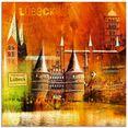 artland print op glas luebeck hanzestad collage 04 (1 stuk) oranje