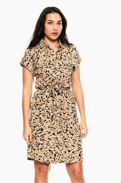 garcia jurk in a-lijn e10281 - 3556-tan met luipaardprint bruin