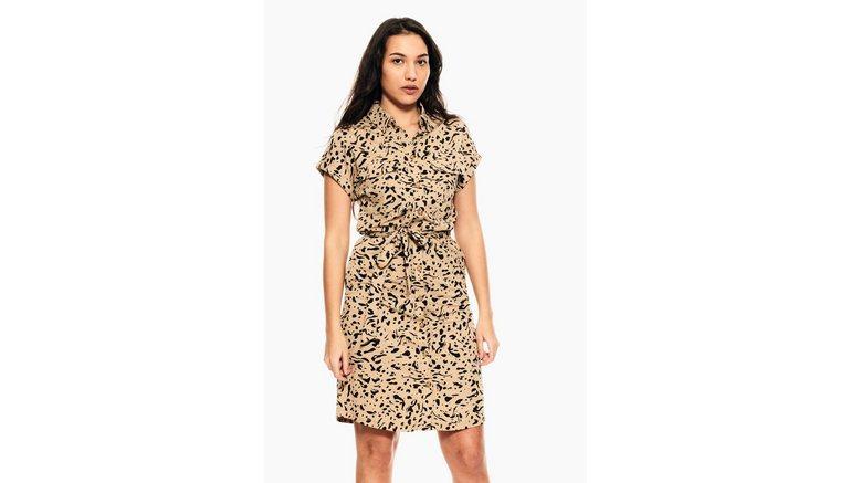 Garcia jurk in a-lijn met luipaardprint