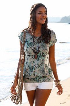 lascana lang shirt met brede tailleband groen