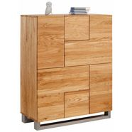 premium collection by home affaire highboard »moora«, 100 cm breed, massief eiken, bijzondere look beige