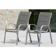 merxx stapelstoel amalfi deluxe set van 2, aluminium-textiel, stapelbaar (set, 2 stuks) grijs