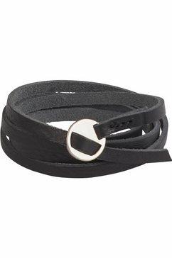 j.jayz leren armband in wikkel-look, coole metalen gesp (1-delig) zwart