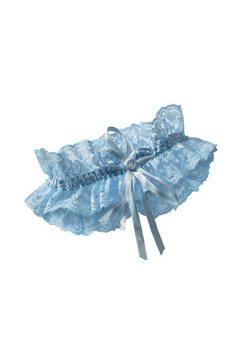 miss perfect kousenband van jacquard-kant blauw