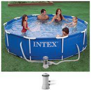intex rond zwembad metal frame blauw