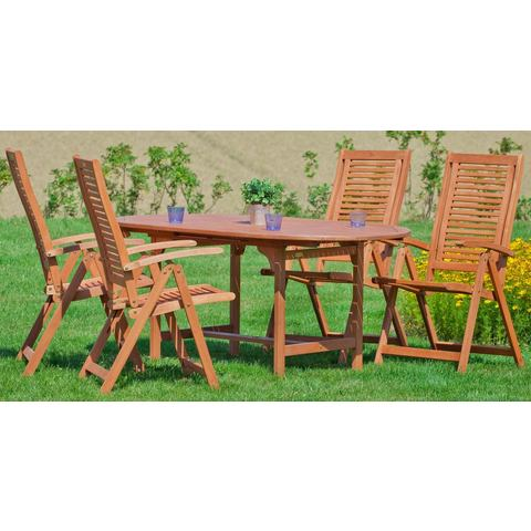 MERXX Tuinmeubelset Cordoba, 5-dlg., 4 stoelen, tafel 120/170x100x74 cm, eucalyptus