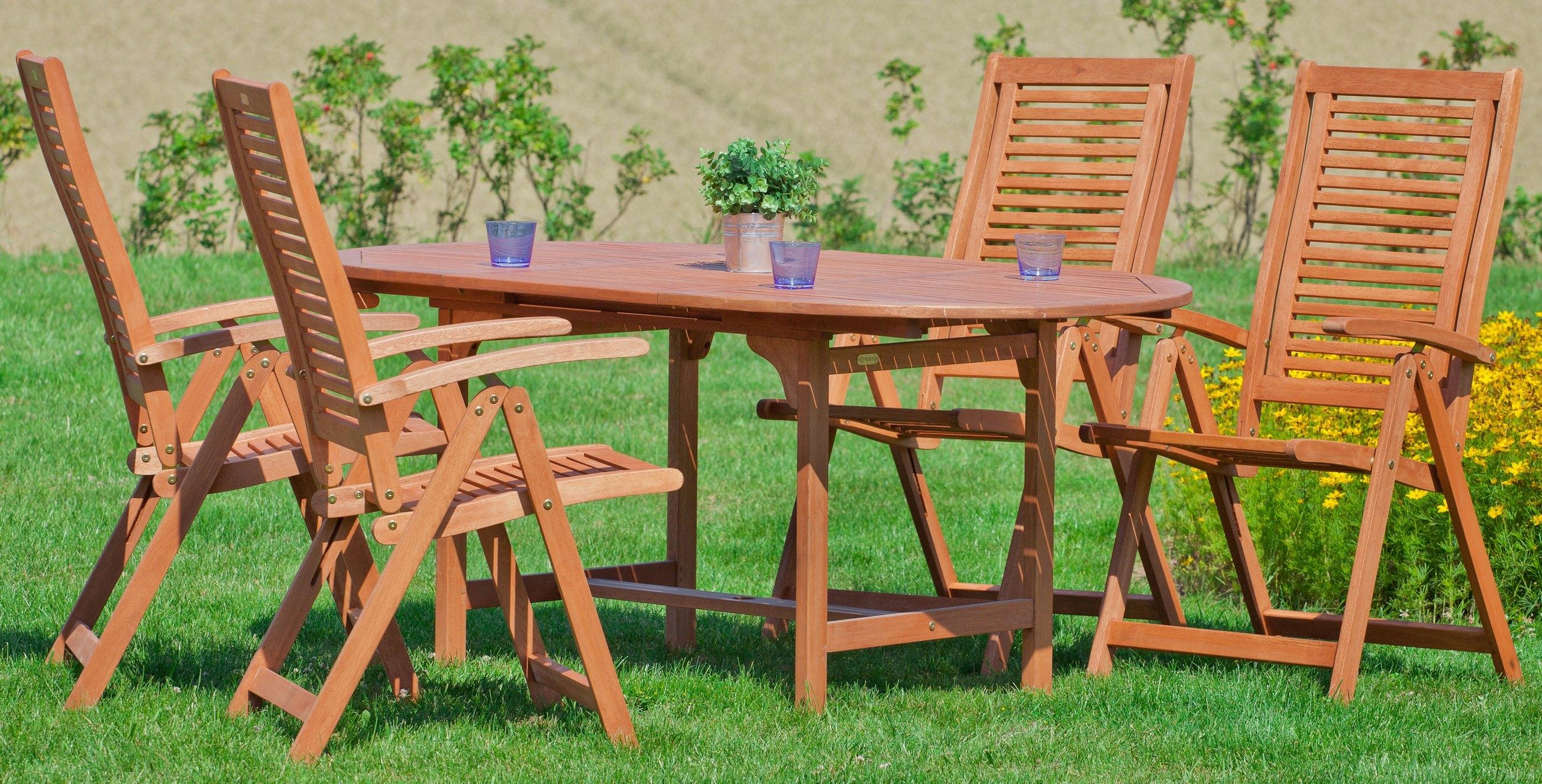 Merxx Tuinmeubelset »Cordoba«, 5-dlg., 4 stoelen, tafel 120/170x100x74 cm, eucalyptus in de webshop van OTTO kopen
