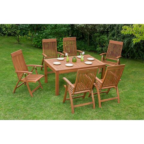 MERXX Tuinmeubelset Commodoro, 7-dlg., 6 stoelen, tafel, inklapbaar, eucalyptus