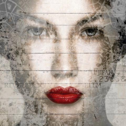 Artprint op hout Vrouwen gezicht Rode lippen, 40x40 cm echt hout