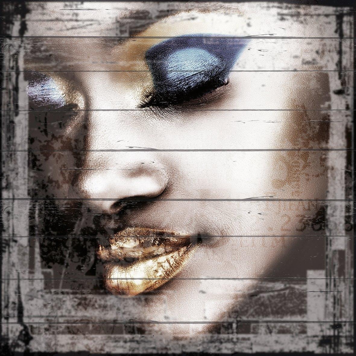 Queence Artprint op hout »Metalen gezicht«, 40x40 cm echt hout online kopen op otto.nl