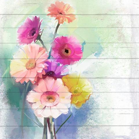 Artprint op hout kleurrijke bloemen, 40x40 cm echt hout