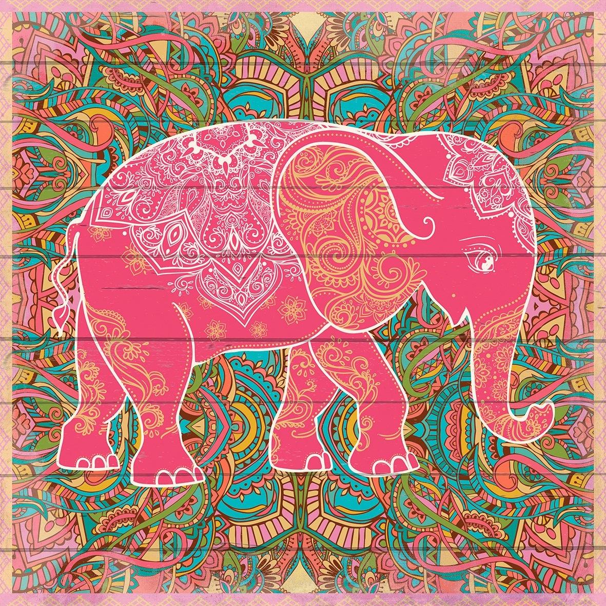 Queence artprint op hout »Elefant im Muster«, 40x40 cm Echtholz nu online kopen bij OTTO