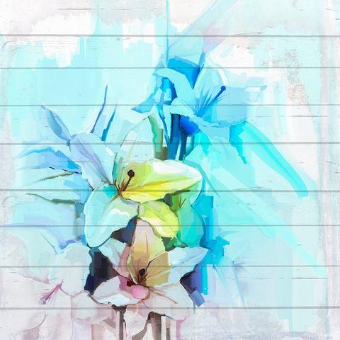 queence artprint op hout Blau-Weiße Blüten, 40x40 cm Echtholz