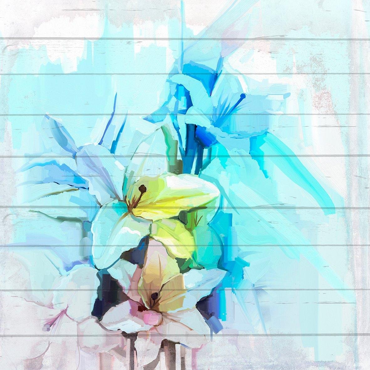 Queence artprint op hout »Blau-Weiße Blüten«, 40x40 cm Echtholz bestellen: 30 dagen bedenktijd