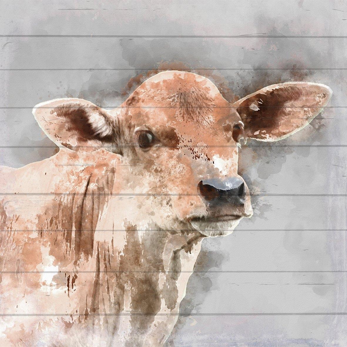 Queence Artprint op hout »gewassen kalf«, 40x40 cm echt hout bij OTTO online kopen