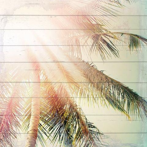Artprint op hout zonnige palmen, 40x40 cm echt hout