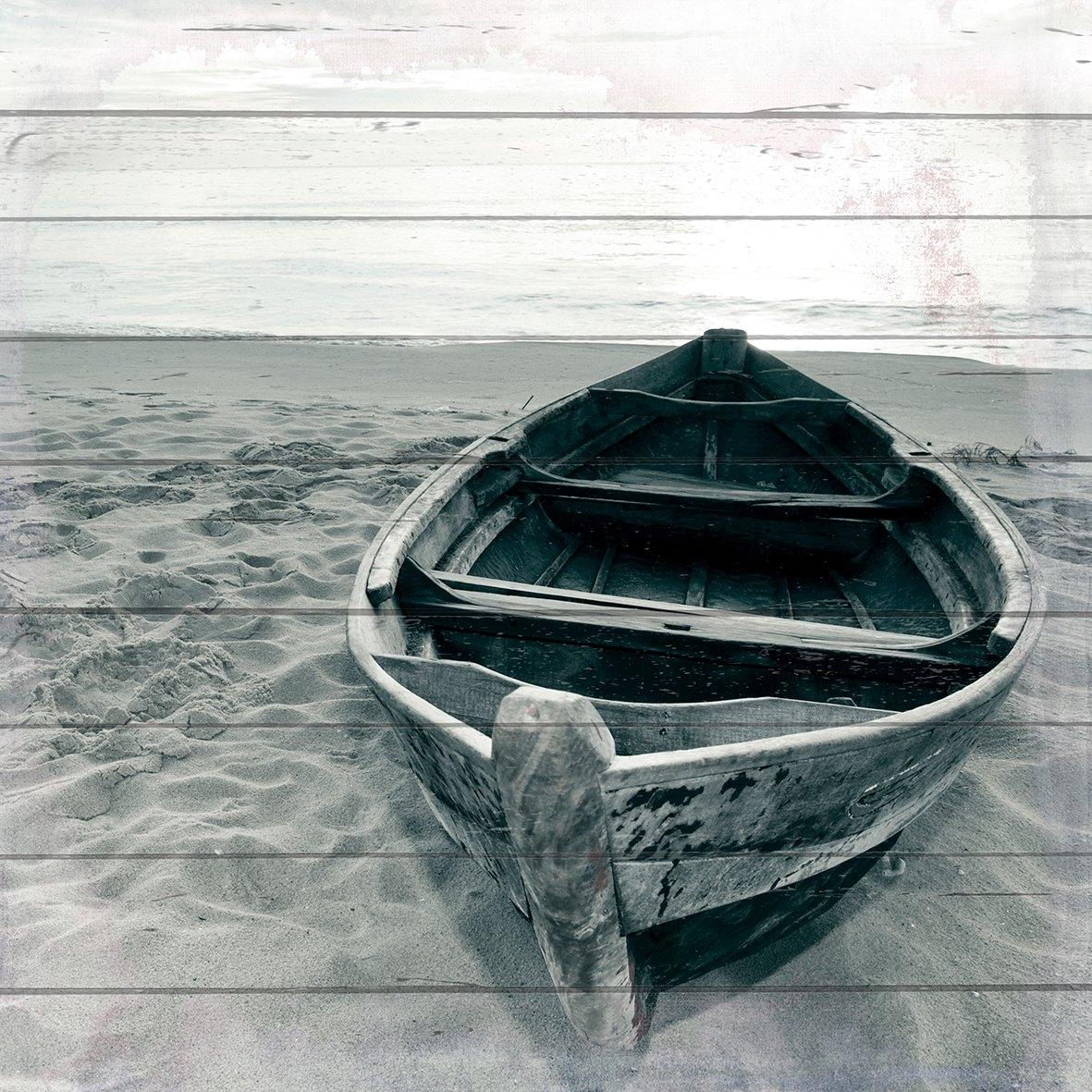 queence Artprint op hout »eenzame boot«, 40x40 cm echt hout veilig op otto.nl kopen