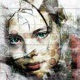 artprint op hout »jong gezicht«, 40x40 cm echt hout multicolor