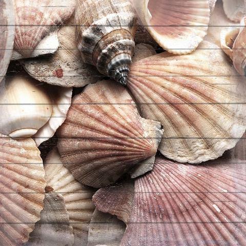 Artprint op hout collectie zee, 40x40 cm echt hout