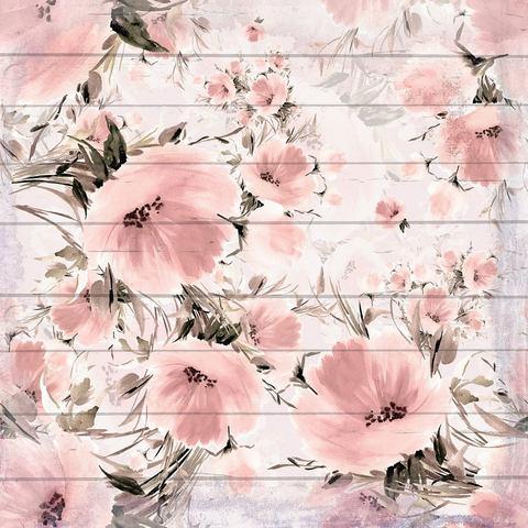 queence artprint op hout Verwaschene Rosa Blumen, 40x40 cm Echtholz