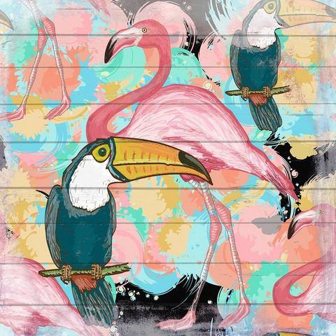 Artprint op hout Flamingo en Tucan, 40x40 cm echt hout