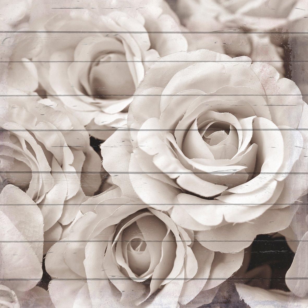 Queence Artprint op hout »Bouquet edelweiss«, 40x40 cm echt hout in de webshop van OTTO kopen