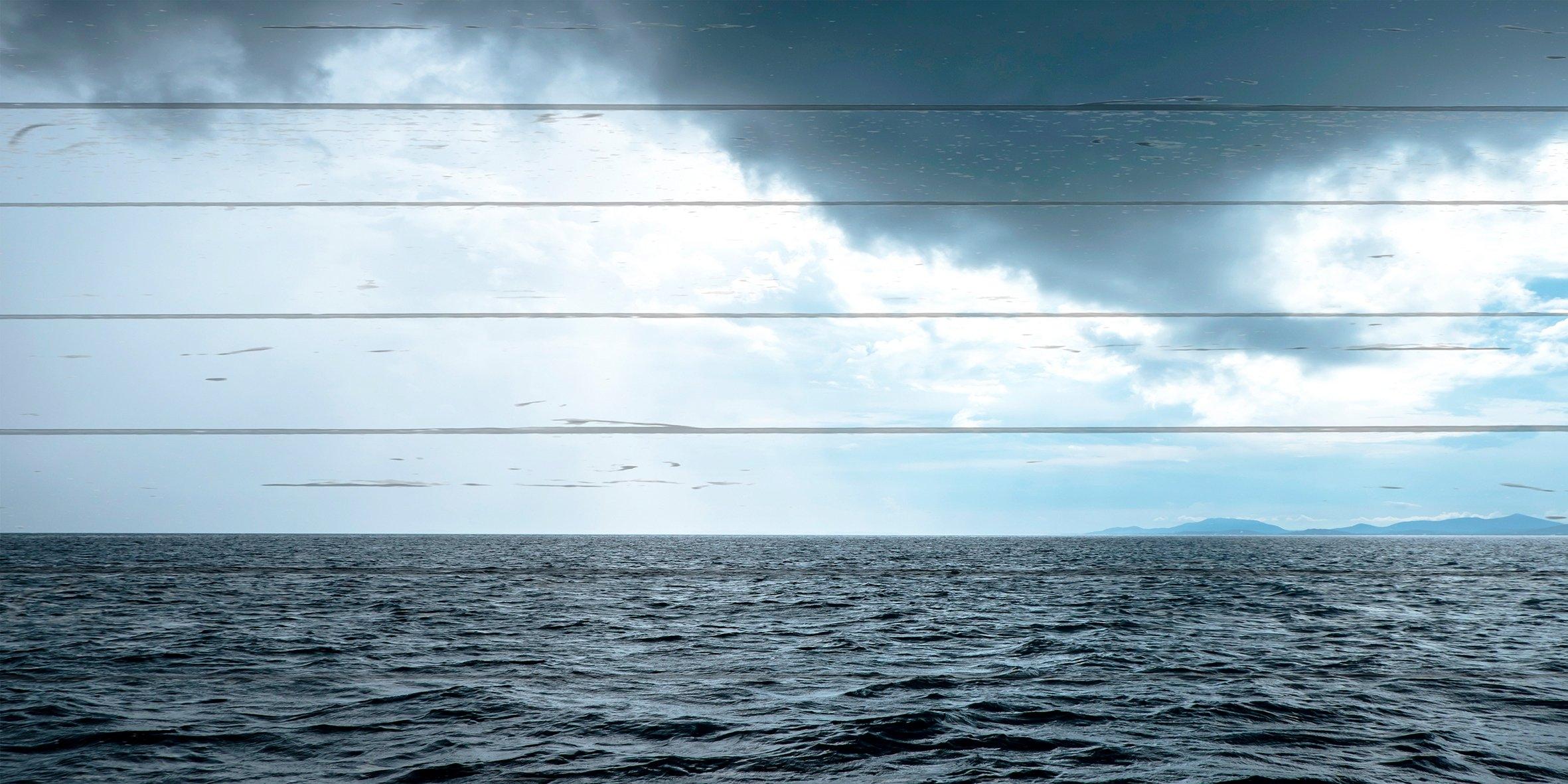 Queence Artprint op hout »Golven en wolken«, 40x80 cm echt hout goedkoop op otto.nl kopen