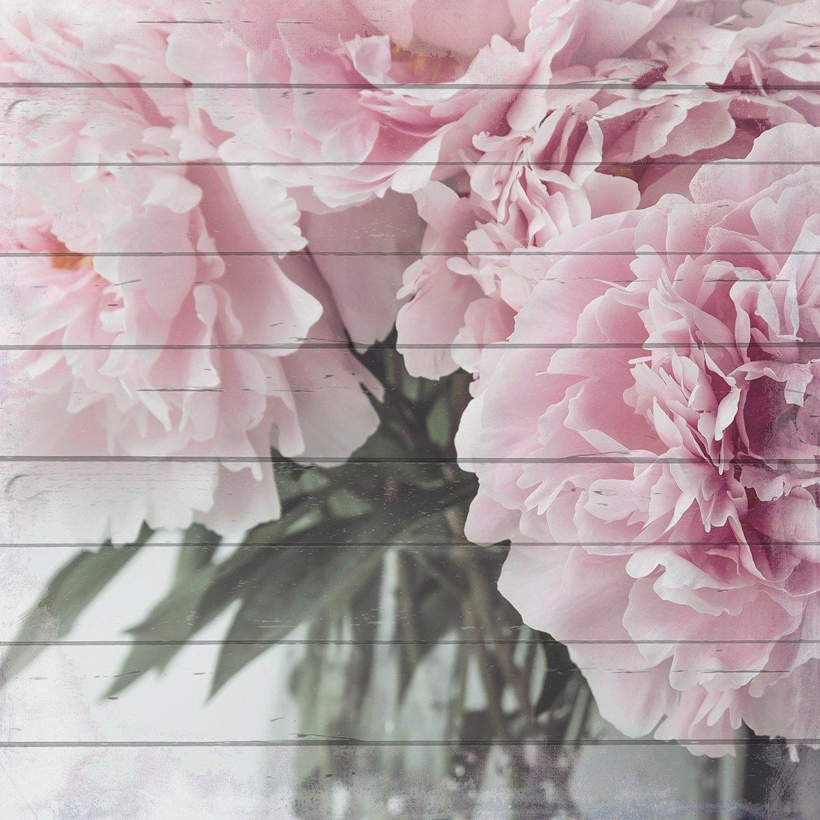 Queence Artprint op hout »delicate bloemen«, 40x40 cm echt hout veilig op otto.nl kopen