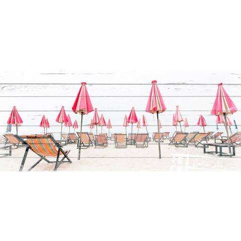 Artprint op hout Ligstoelen op het strand, 40x80 cm echt hout