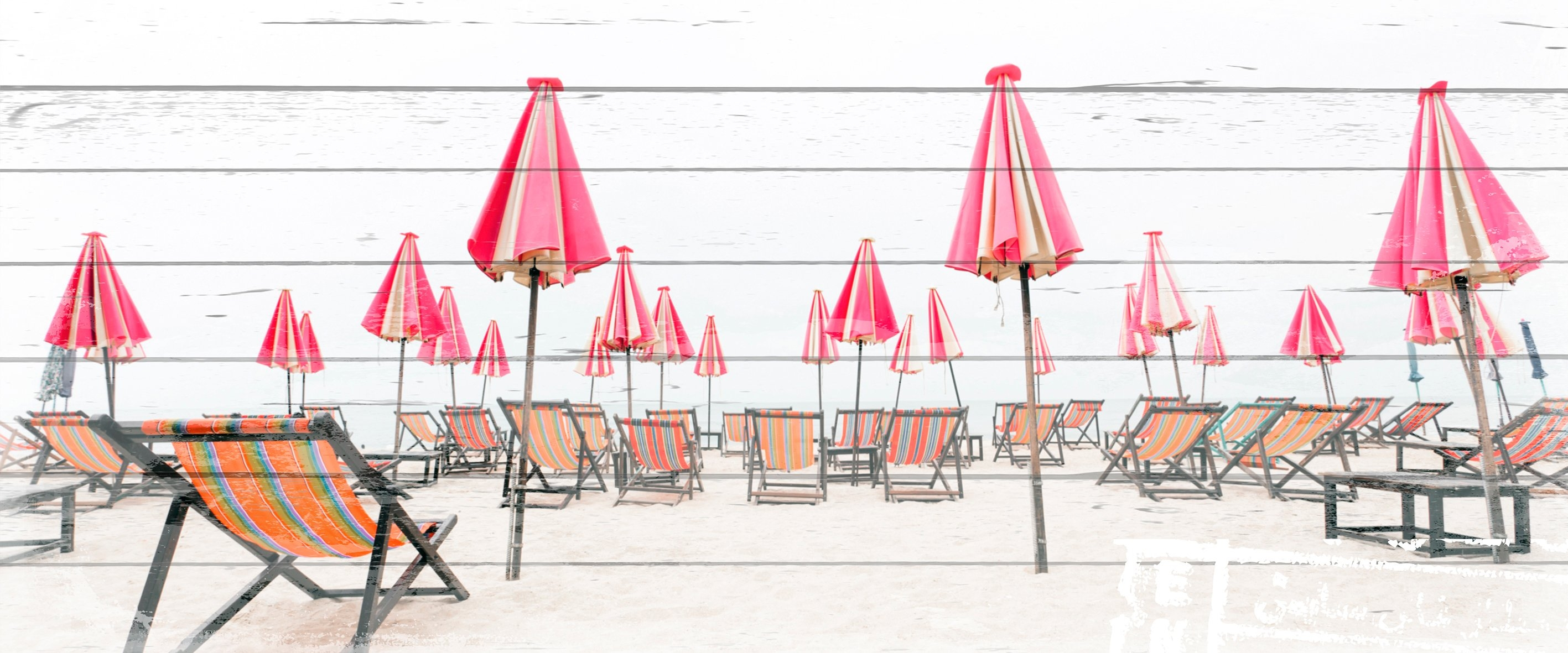queence Artprint op hout »Ligstoelen op het strand«, 40x80 cm echt hout nu online kopen bij OTTO