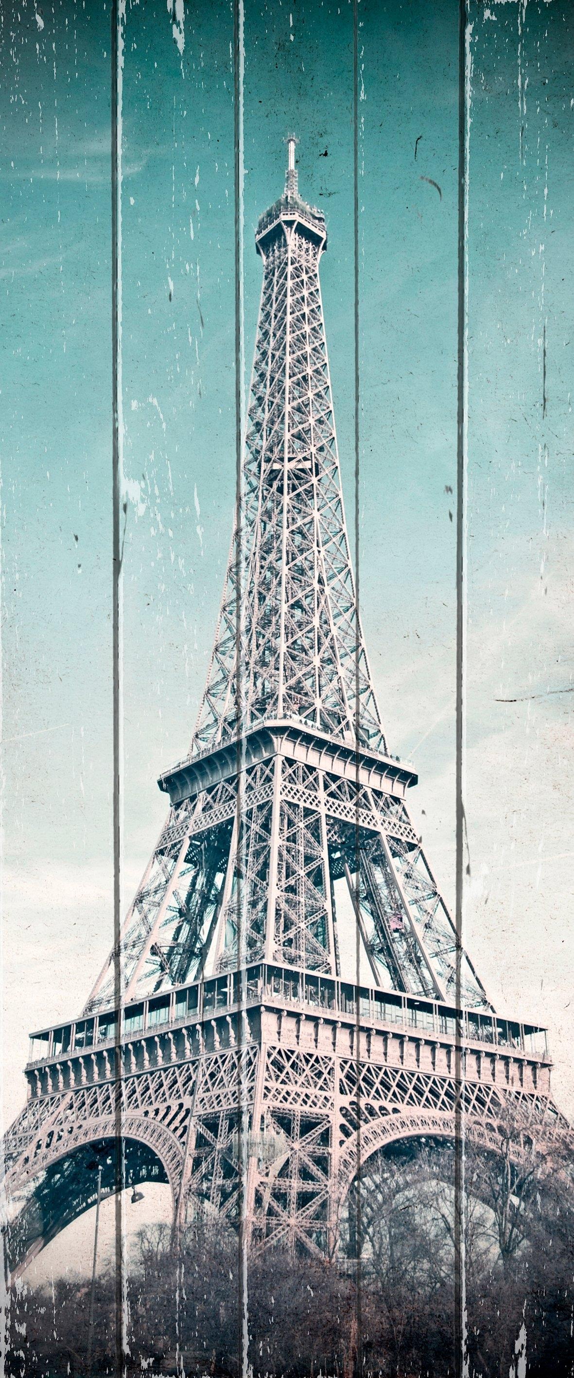 Op zoek naar een Queence artprint op hout »Vintage Eifelturm«, 80x40 cm Echtholz? Koop online bij OTTO