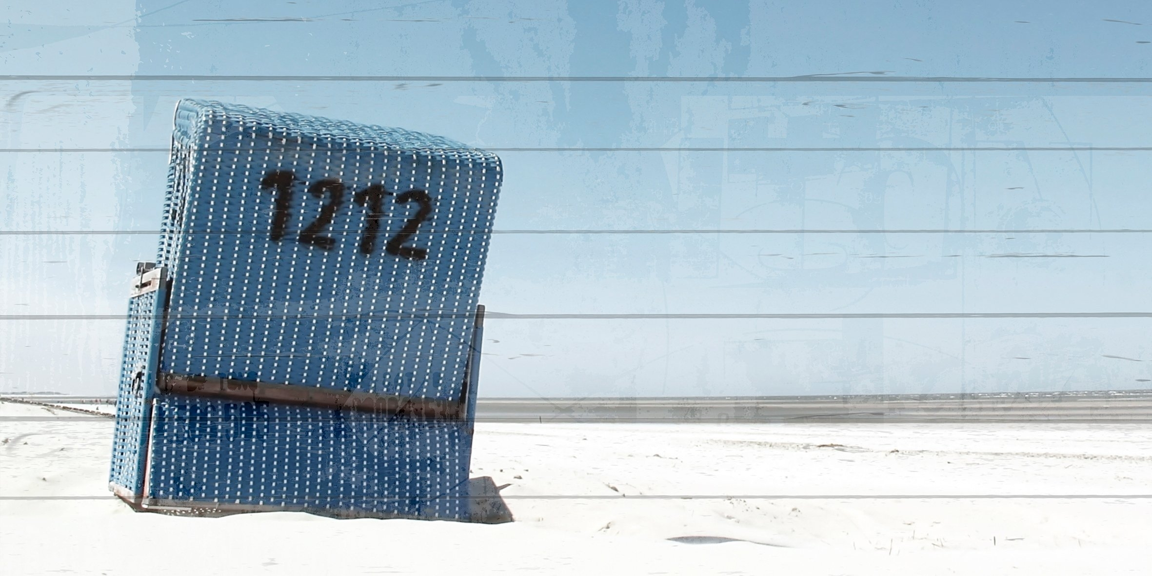 Queence Artprint op hout »Blue beach stoel in blauwe hemel«, 40x80 cm echt hout bestellen: 30 dagen bedenktijd