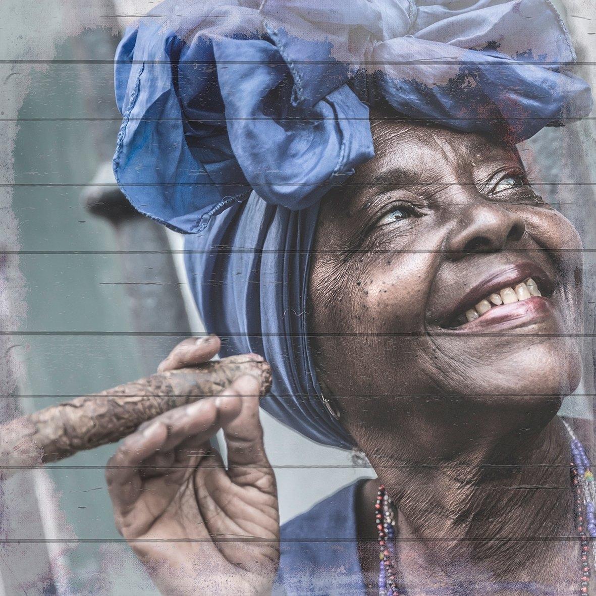 Queence Artprint op hout »gelukkig Cubanerin«, 40x40 cm echt hout goedkoop op otto.nl kopen
