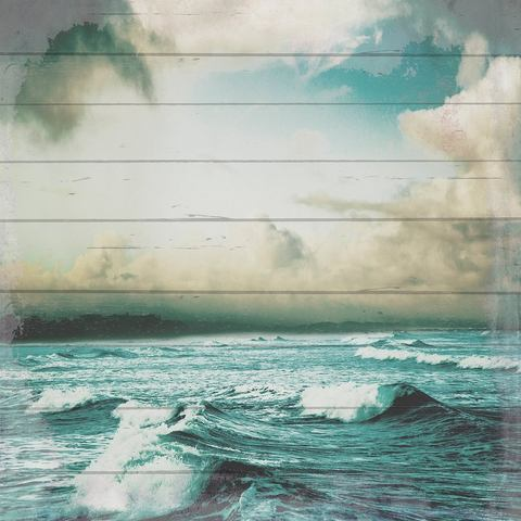 Artprint op hout Storm op zee, 40x40 cm echt hout