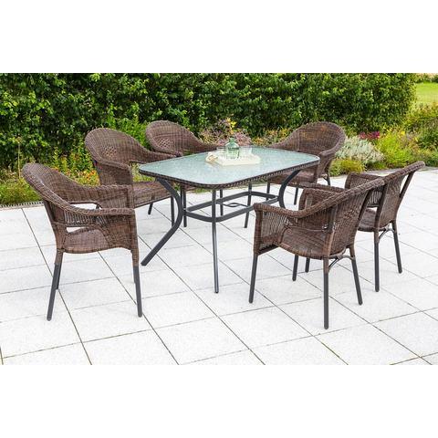 MERXX Tuinmeubelset Ravenna, 7-dlg., 6 stoelen, tafel, stapelbaar, poly-rotan, bruin