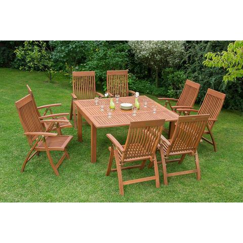 MERXX Tuinmeubelset Commodoro, 9-dlg., 8 stoelen, tafel, uittrekbaar, eucalyptus, naturel