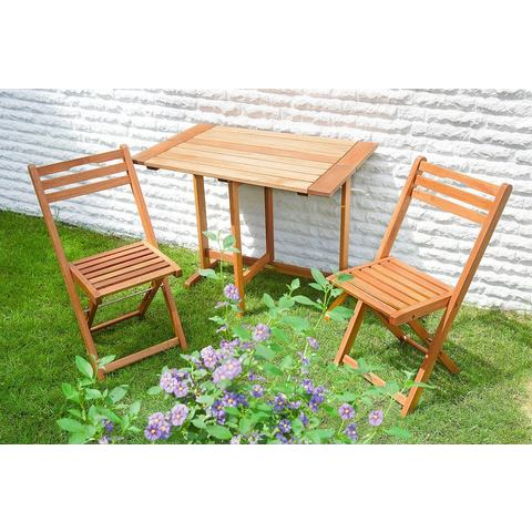 MERXX Tuinmeubelset Porto, 3-dlg., 2 stoelen, 1 tafel 60x90 cm, inklapbaar, eucalyptus