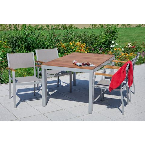 MERXX Tuinmeubelset Naxos, 7-dlg., 6 stoelen, tafel 90x150 cm, acacia/textiel
