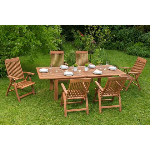 MERXX Tuinmeubelset Comodoro, 7-dlg., 6 tuinstoelen, tafel, uitrekbaar, eucalyptus