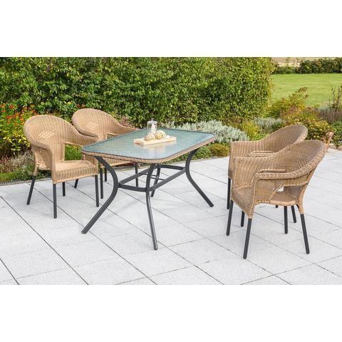 MERXX Tuinmeubelset Ravenna, 5-dlg., 4 stoelen, tafel 80x140 cm, stapelbaar, poly-rotan
