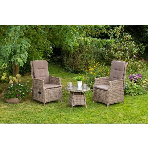 MERXX Tuinmeubelset Riviera, 7-dlg., 2 stoelen, 1 tafel Ø 60 cm, verstelbaar, poly-rotan