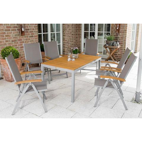 MERXX Tuinmeubelset Naxos, 7-dlg., 6 stoelen, tafel 90x150 cm, inklapbaar