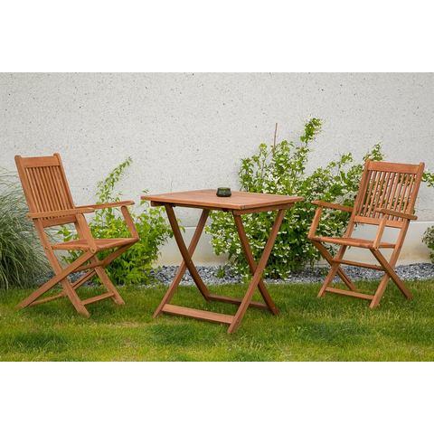 MERXX Tuinmeubelset Rio, 3-dlg., 2 stoelen, 1 tafel 70x70 cm, inklapbaar, eucalyptus