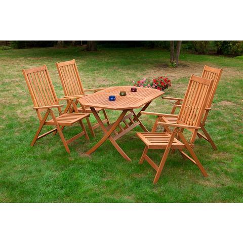 MERXX Tuinmeubelset Vitoria, 5-dlg., 4 stoelen, tafel 85x135 cm, inklapbaar, eucalyptus