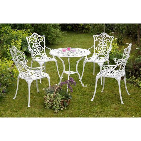 MERXX Tuinmeubelset Lugano, 5-dlg., 4 stoelen, tafel Ø 70 cm, aluminium, wit