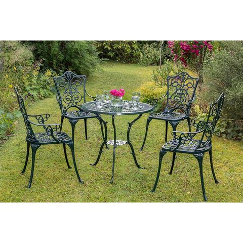 MERXX Tuinmeubelset Lugano, 5-dlg., 4 stoelen, tafel Ø 70 cm, aluminium, zwart