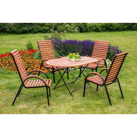 MERXX Tuinmeubelset Schlo�garten, 5-dlg., 4 stoelen, tafel, stapelbaar, inklapbaar, eucalyptus